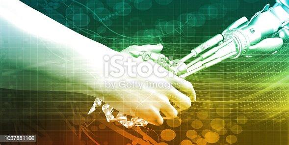 1042827770istockphoto Man and Machine Handshake 1037881166