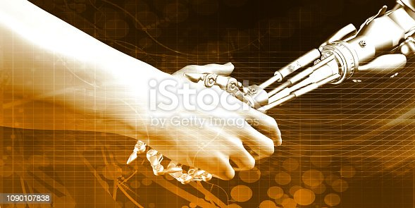 1042827770istockphoto Man and Machine Handshake 1090107838