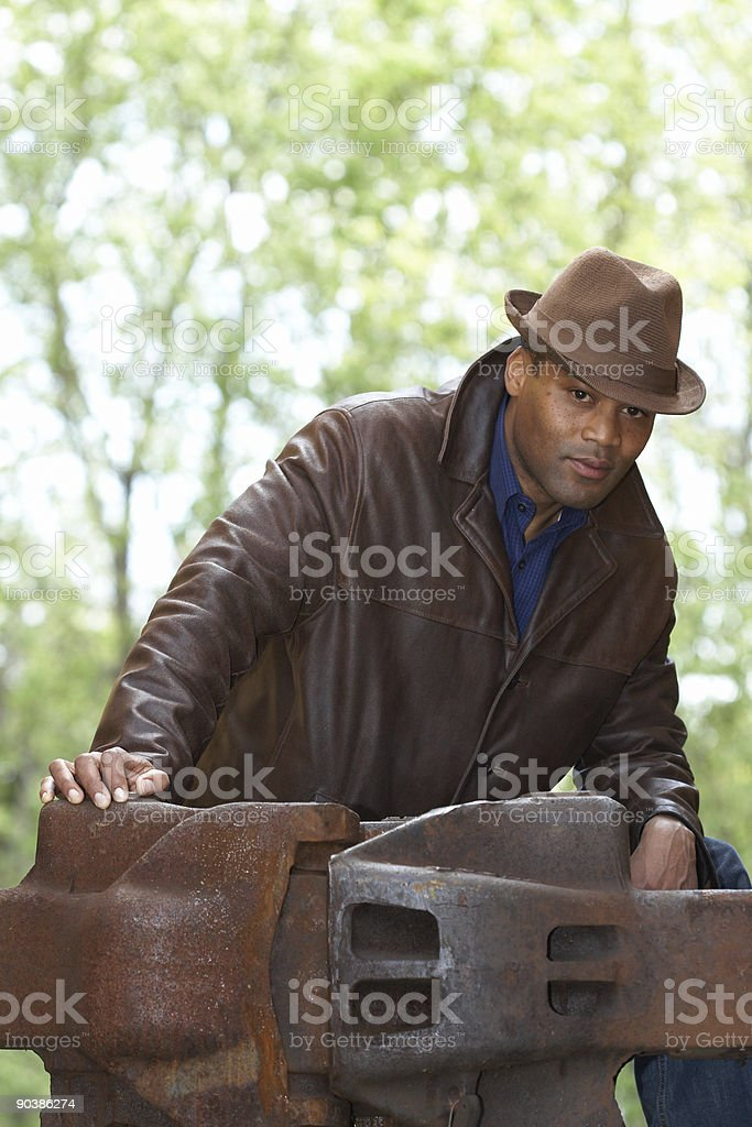 man and metal rest royalty-free stock photo