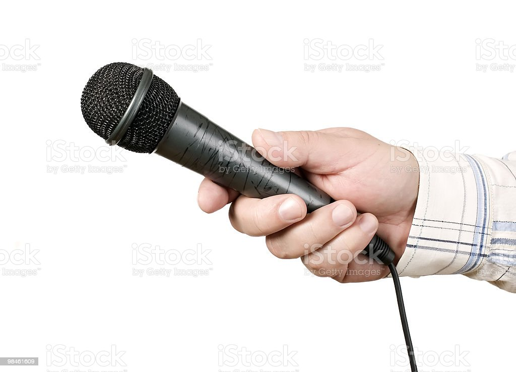 Man and modern microphone with wire royalty-free stock photo
