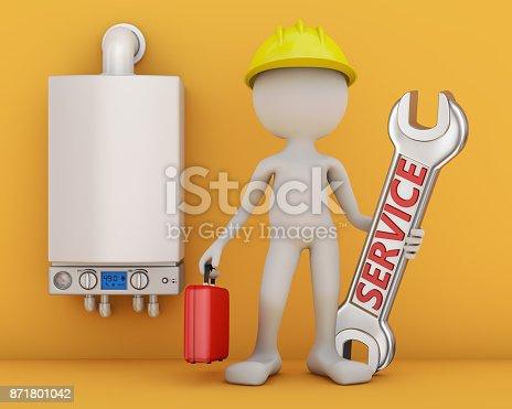 istock Man and modern turbofan boiler. 871801042