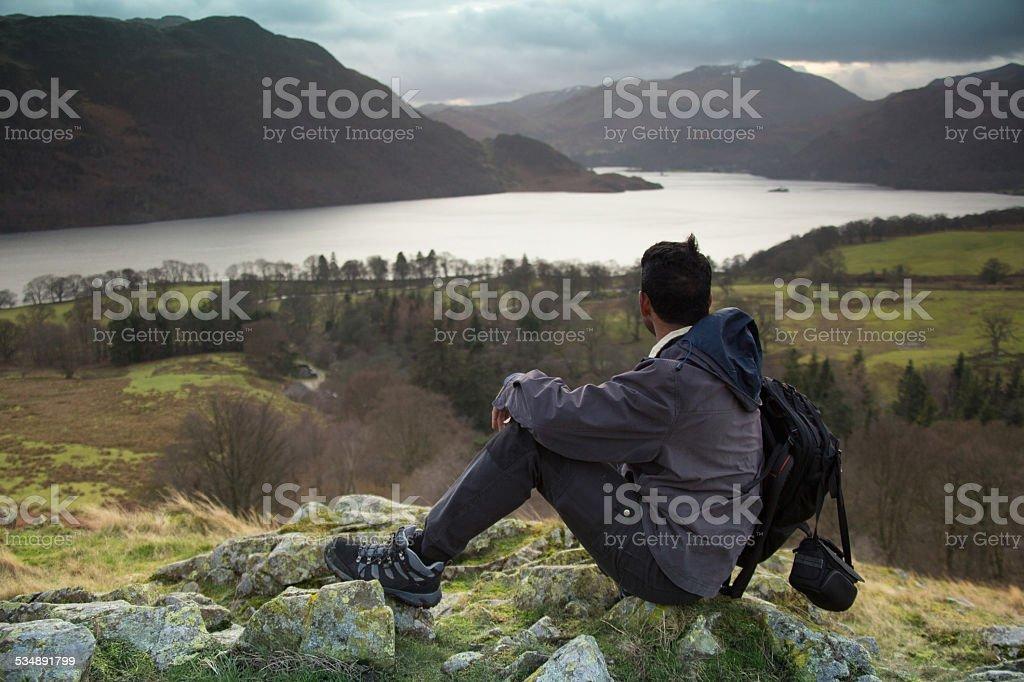 Man and Mountain stock photo