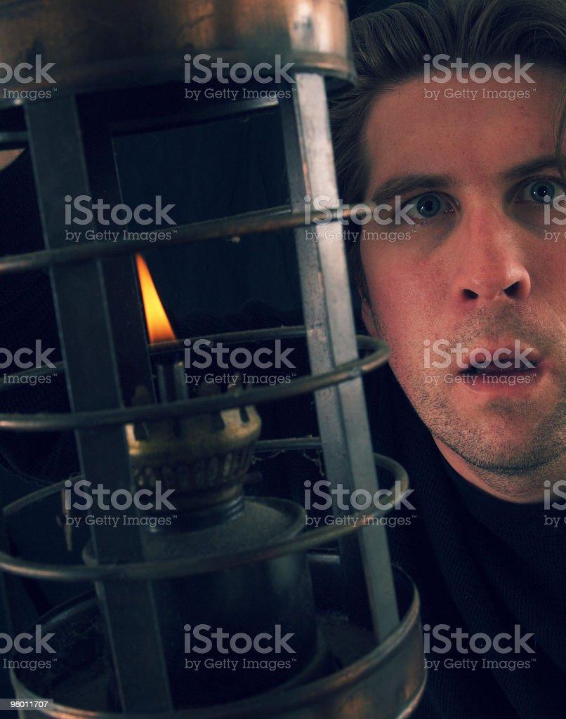 Man and Oil Lantern royalty-free stock photo