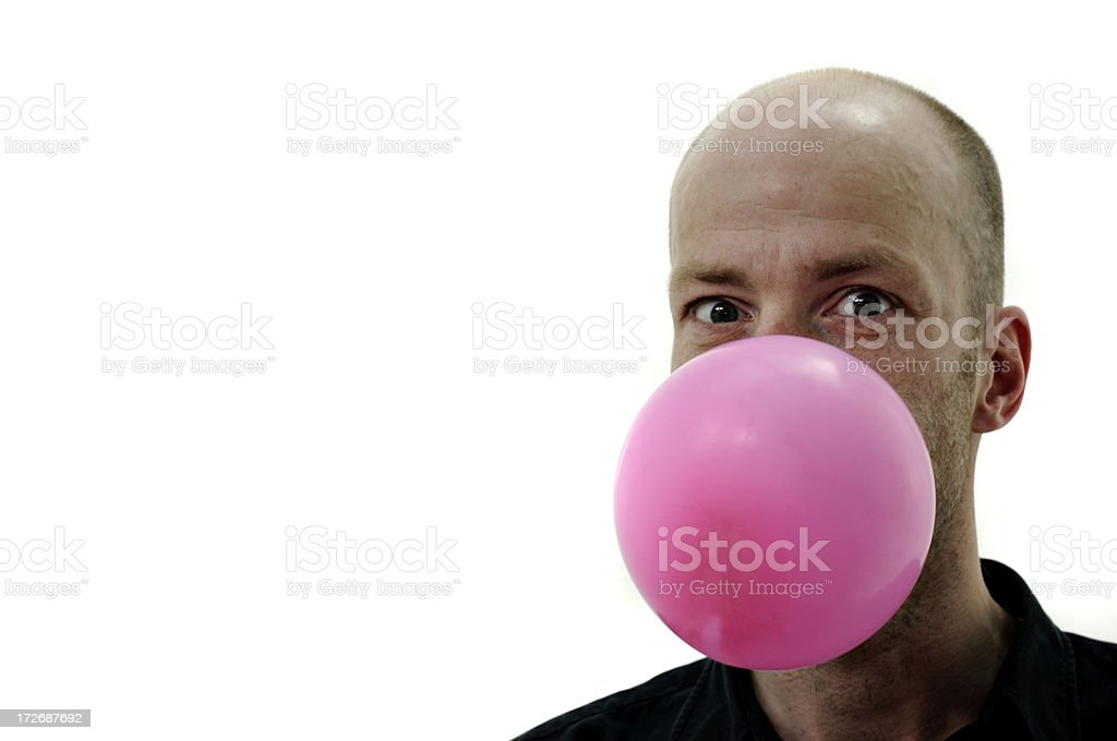 man and pink jewing gum royalty-free stock photo