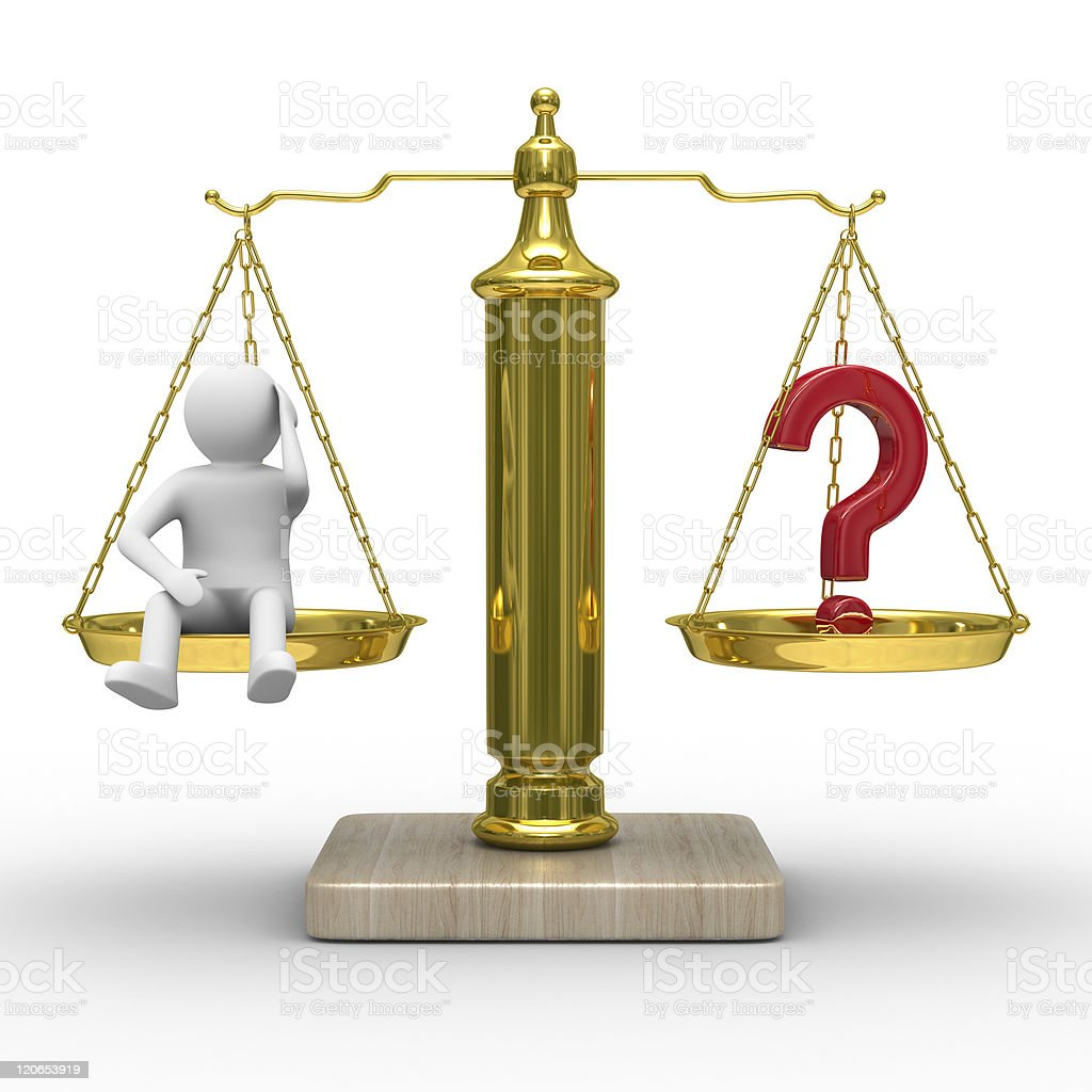 man and question on scales. Isolated 3D image royalty-free stock photo