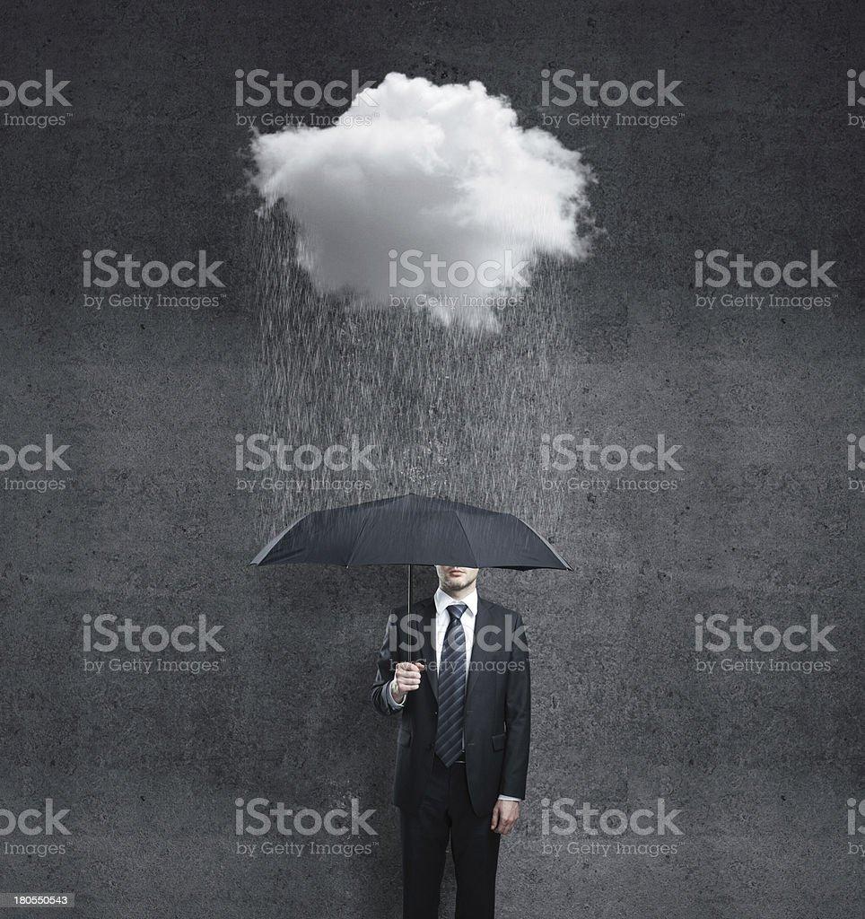 man and rain stock photo