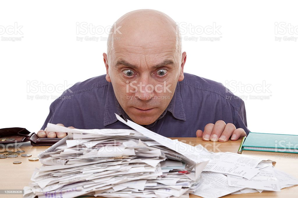 man and receipts stock photo