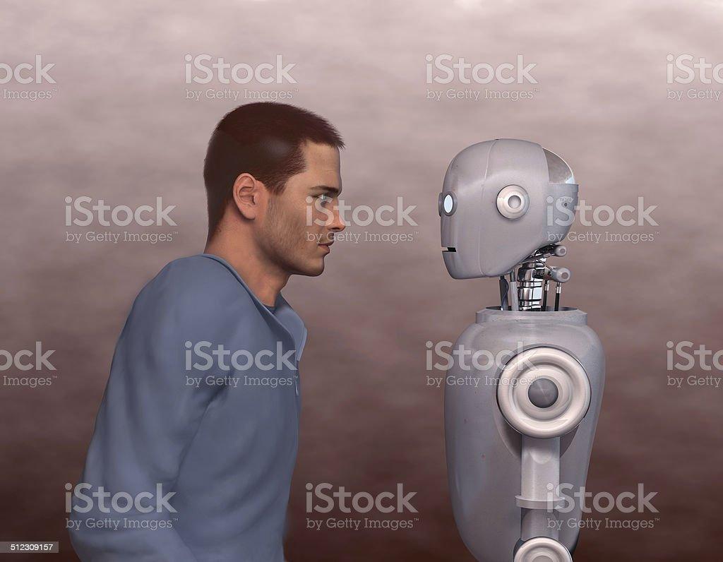 Mann und Roboter – Foto