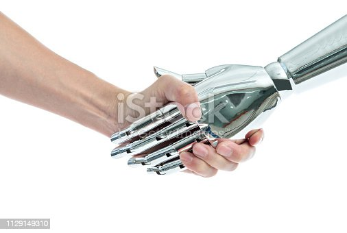 istock Man and robot shaking hands on white background 1129149310