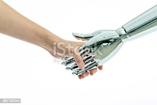 istock Man and robot shaking hands on white background 962162044