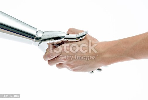 istock Man and robot shaking hands on white background 962162104
