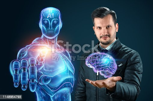 1147918337 istock photo Man and robot together shoulder to shoulder, cyborg on a blue background, artificial intelligence. Autopilot concept, robotization, industrial revolution 4.0. 1148954793