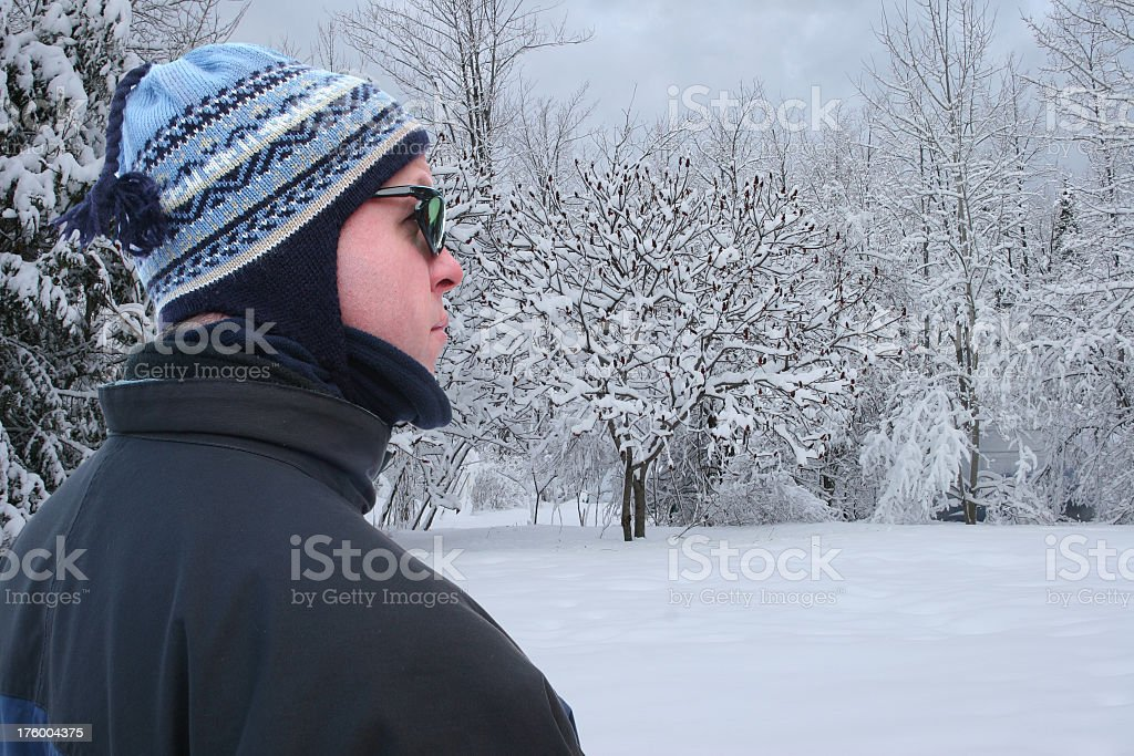 Man and snow royalty-free stock photo