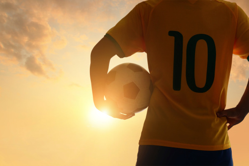 Man and soccer silhouette