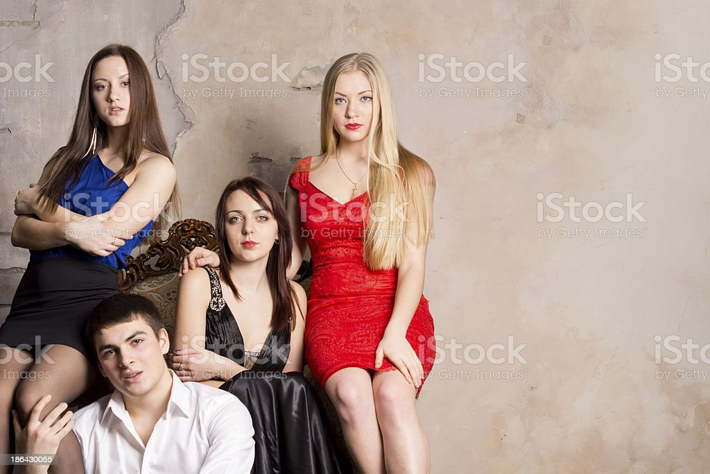 Man and three women royalty-free stock photo