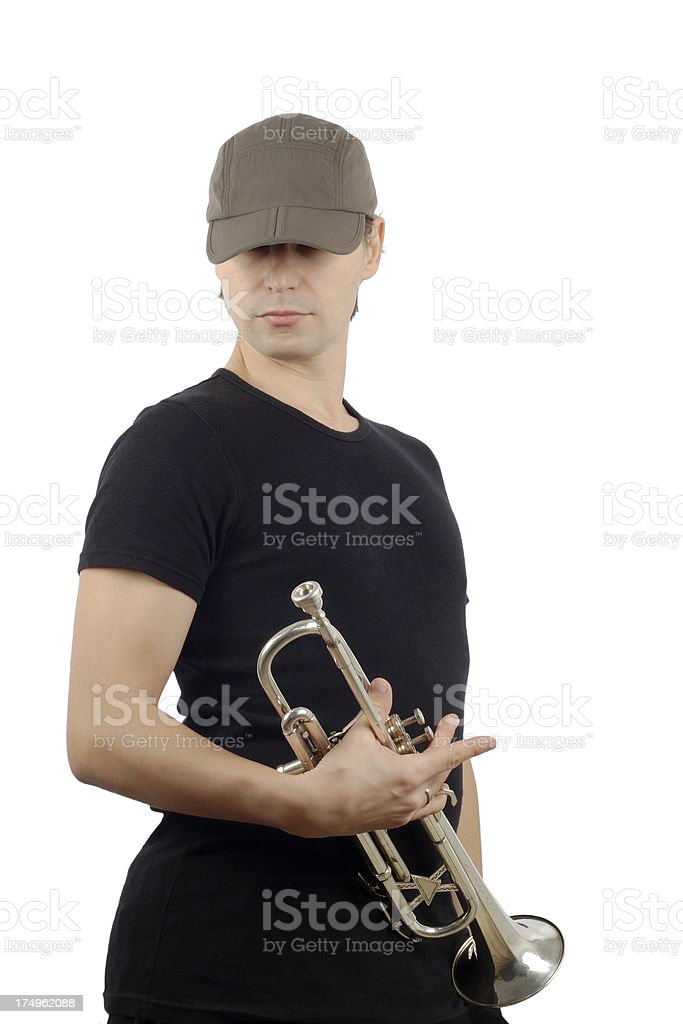 man and trumpet stock photo