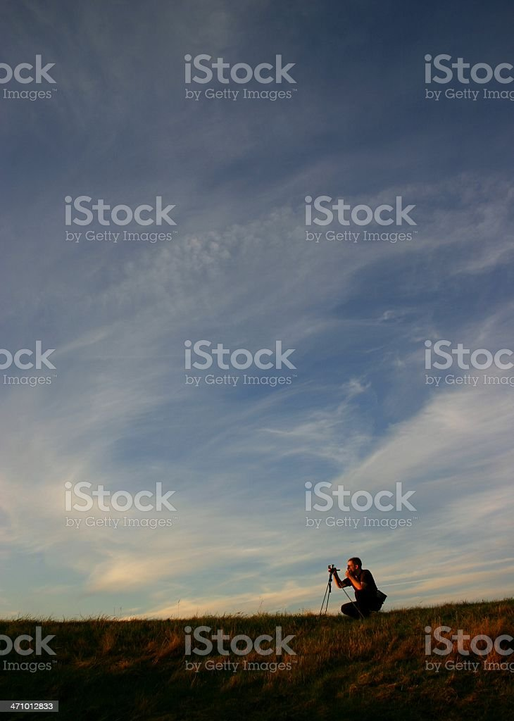 man and universe with copyspace royalty-free stock photo