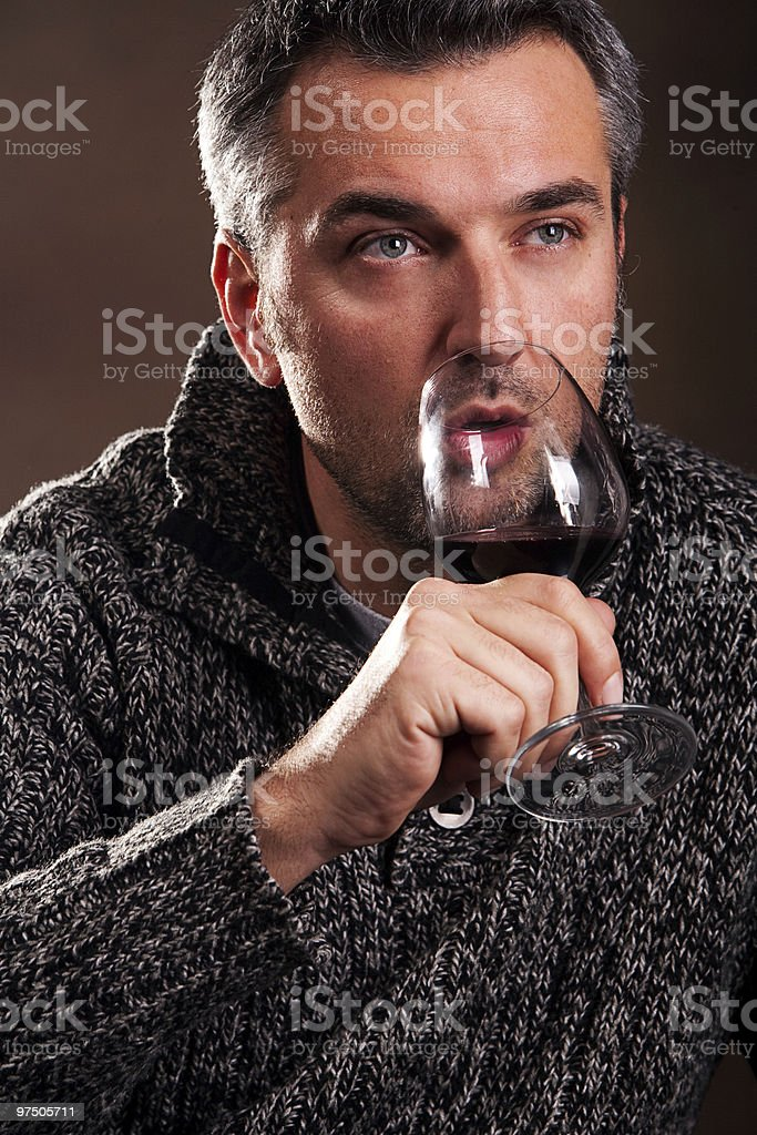 man and wine royalty-free stock photo