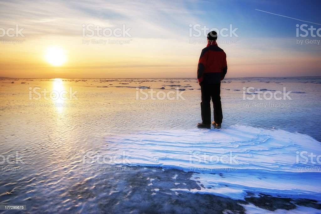 Man and winter. royalty-free stock photo