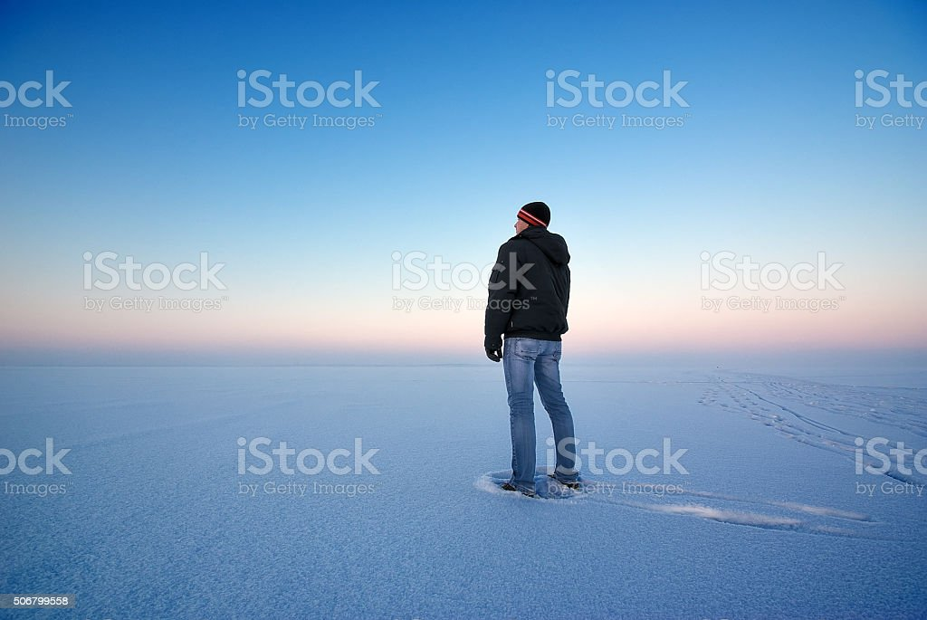 Man and winter. stock photo