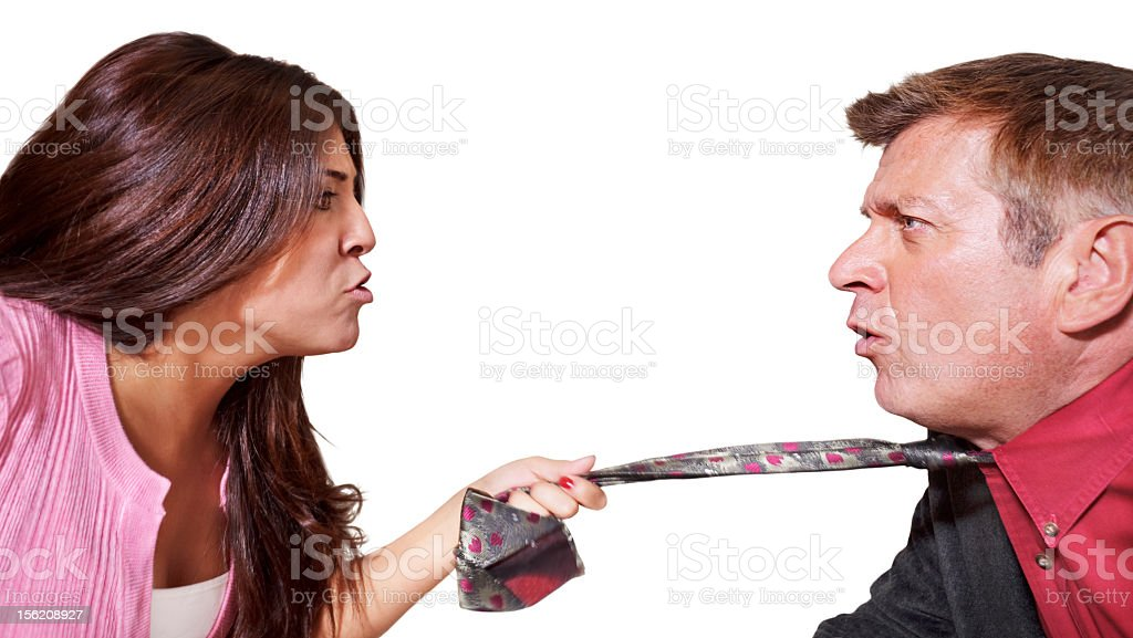 Man and woman arguing stock photo
