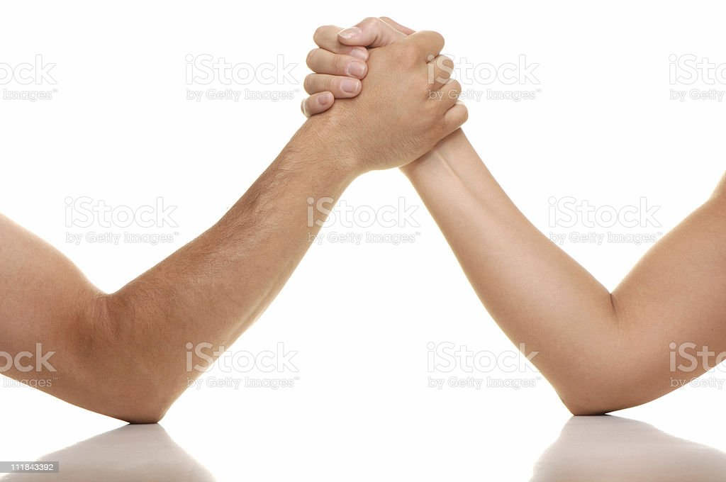 Man and Woman Arm Wrestling Isolated on White Background stock photo