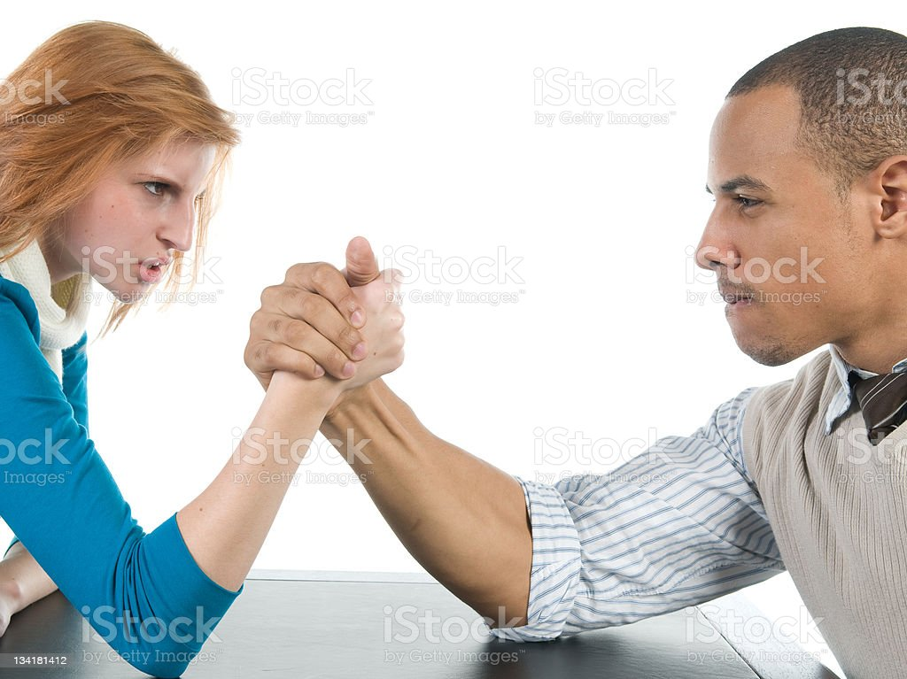 Man and Woman Arm Wrestling royalty-free stock photo