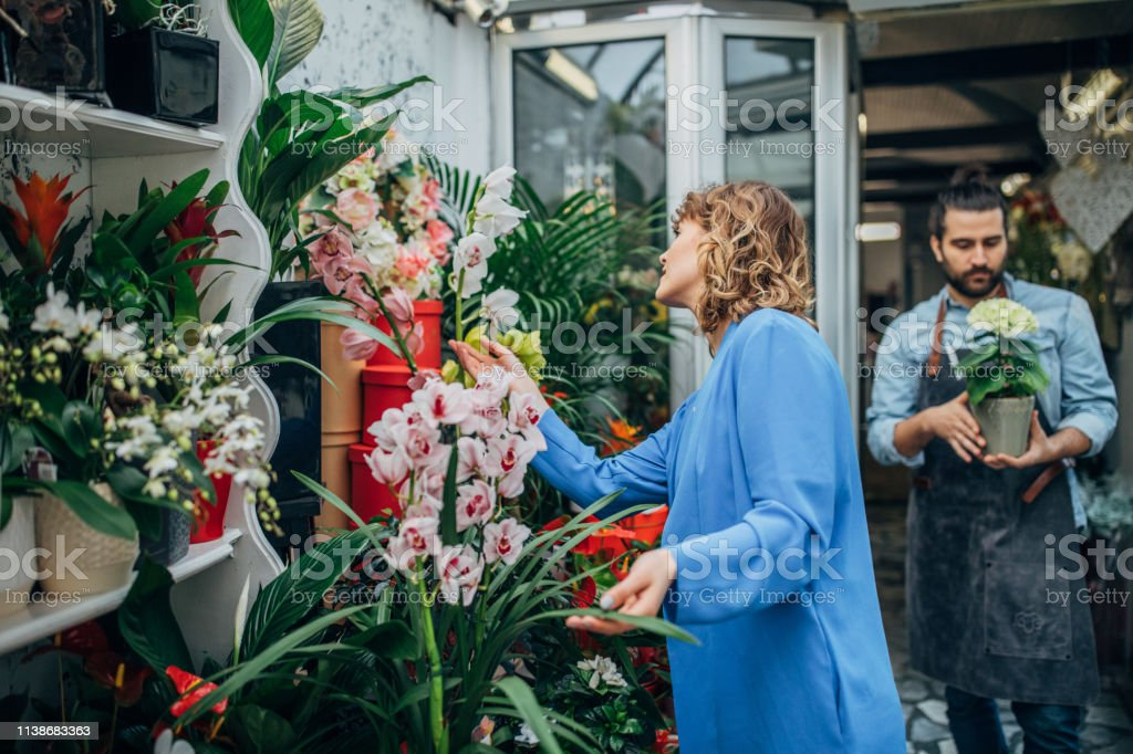 Man and woman at the flower shop