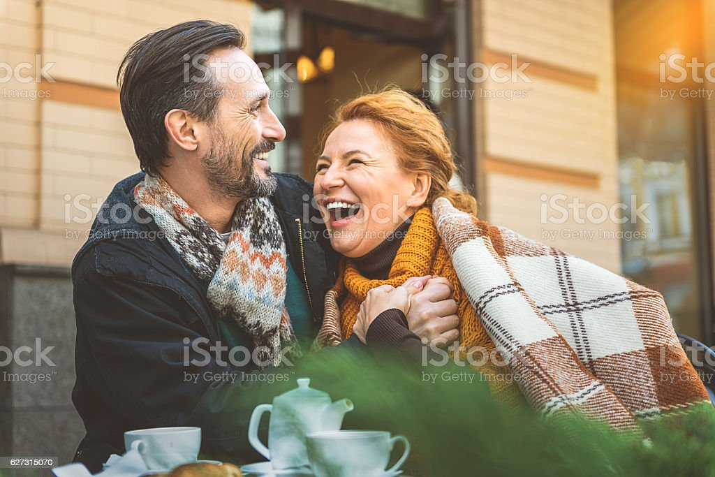 Man and woman dating in cafe stock photo