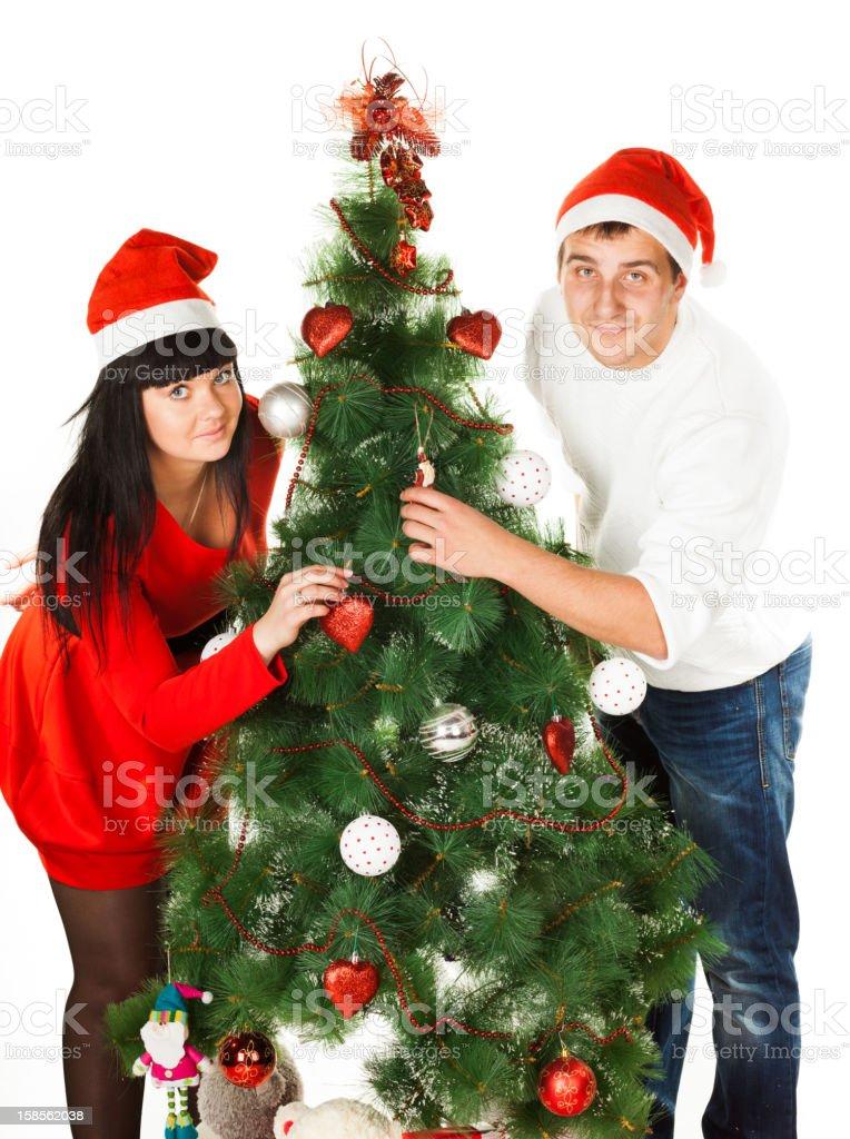 남자, 여자 장식함 크리스마스 트리 royalty-free 스톡 사진