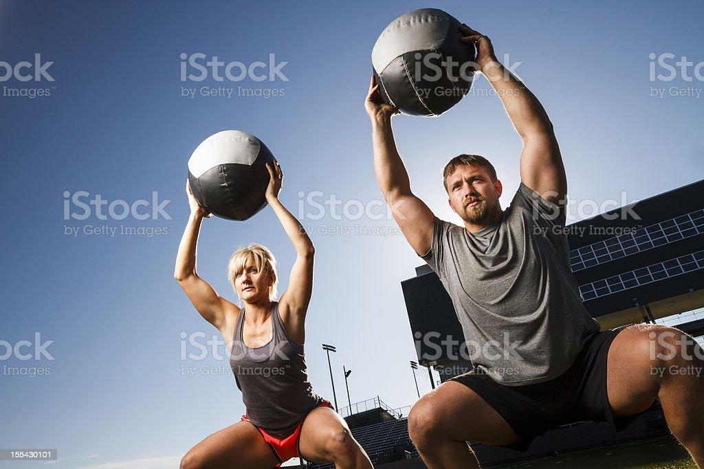 Man and Woman Doing gym stock photo