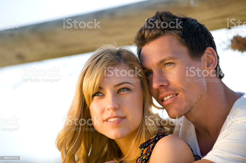 Man and woman dreaming of the future royalty-free stock photo
