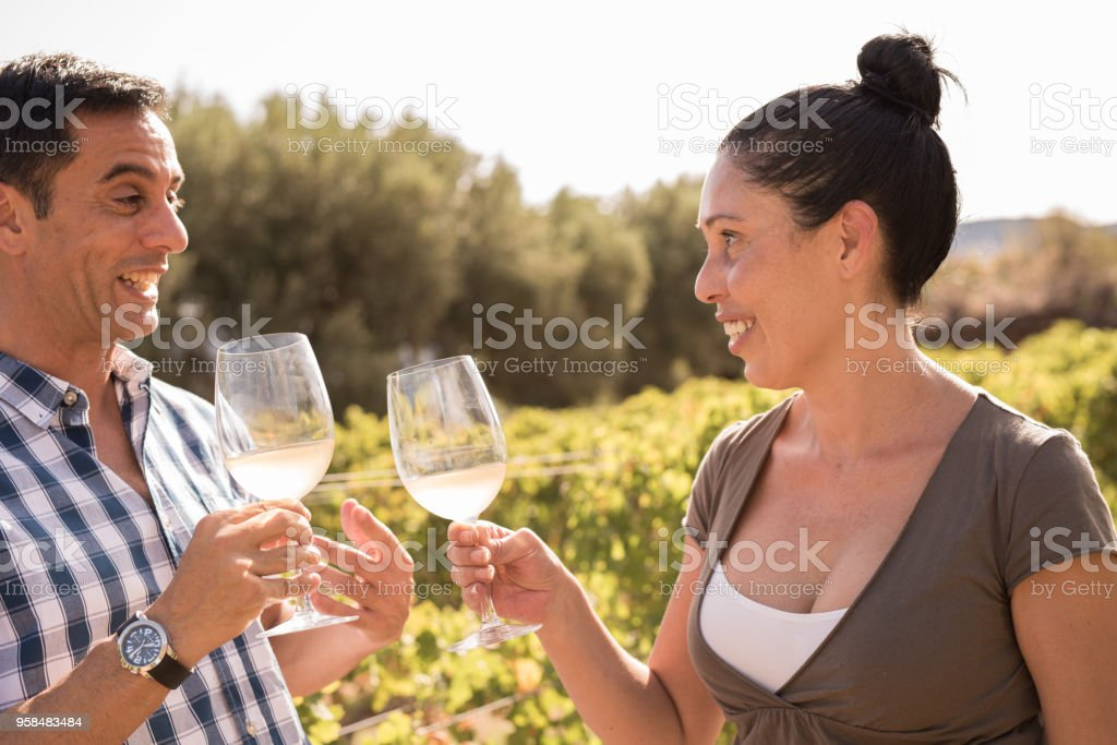 A man and woman drinking wine in a vineyard stock photo