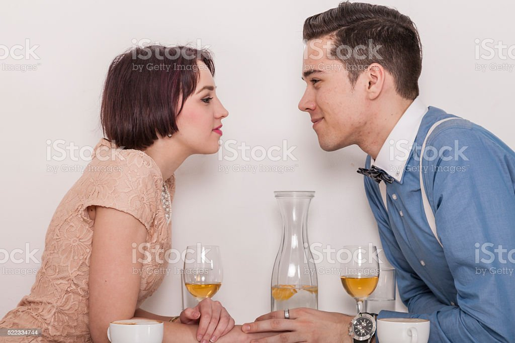 man and woman falling in love stock photo