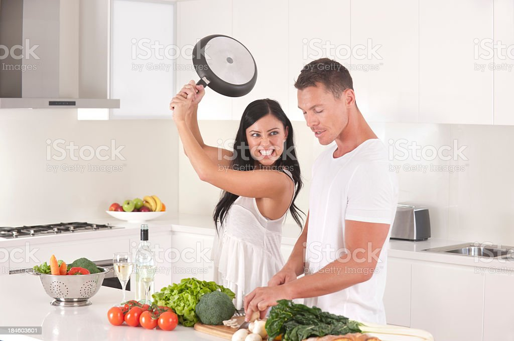 Man and woman fighting royalty-free stock photo