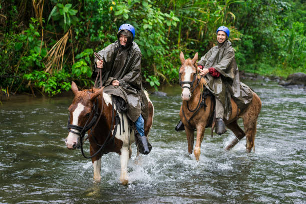 Man and woman galloping in River Arenal during Horseback riding on foot of  Volcano Arenal, Costa Rica. Excited man and senior woman while Horseback riding on foggy and rainy day while crossing the river Arenal near small town La Fortuna in Costa Rica. Area is known as a gateway to Arenal Volcano National Park with two volcanoes, Active Arenal Volcano and Dormant Chato Volcano. arenal volcano stock pictures, royalty-free photos & images