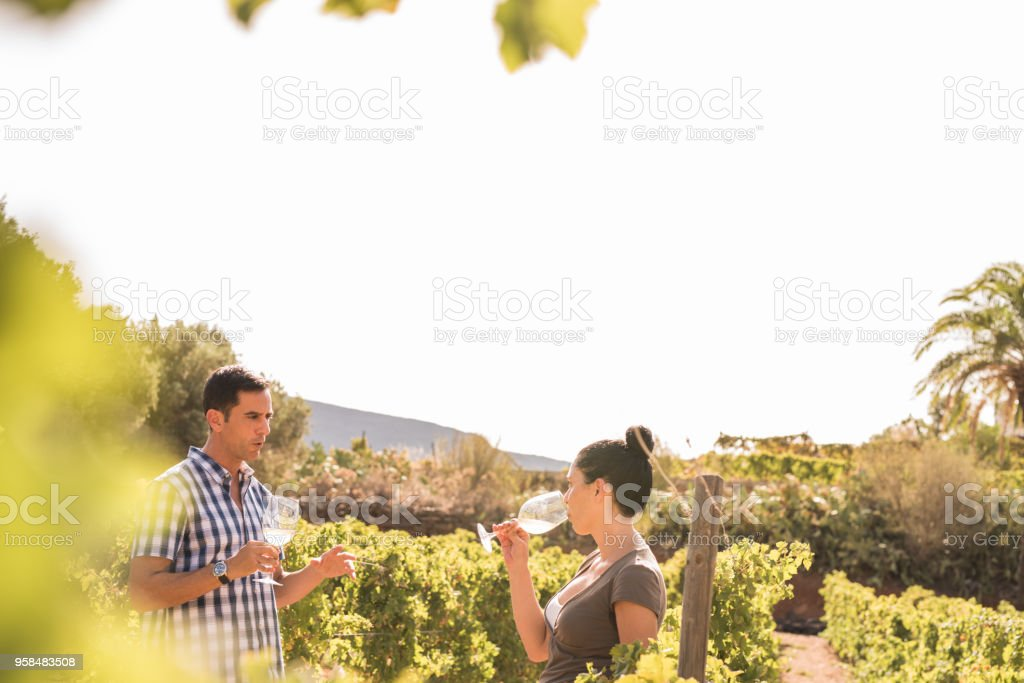 A man and woman having a chat in the vineyards stock photo
