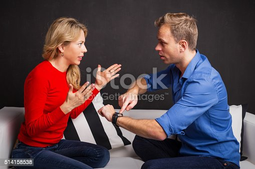 139880782istockphoto Man and woman having an argument about being late 514158538
