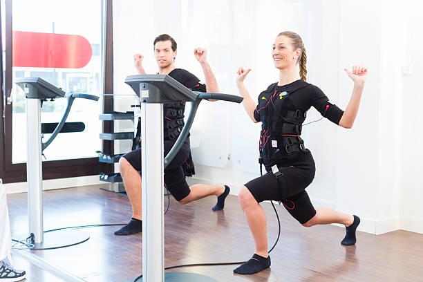 Man and woman having ems training stock photo