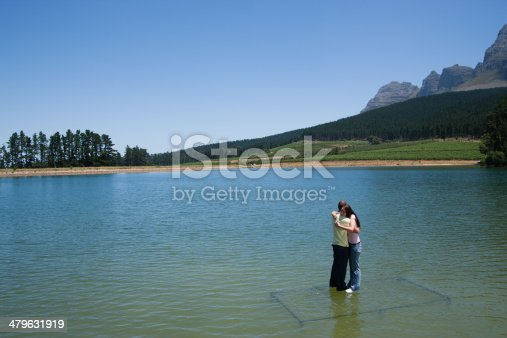 istock Man and woman hugging with standing on water  479631919