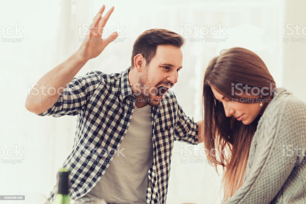 Man and woman in disagreement stock photo