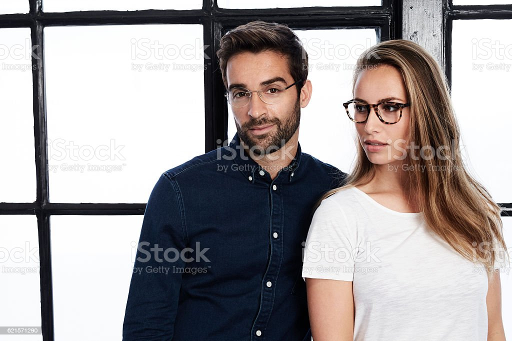 Man and woman in eyeglasses, portrait photo libre de droits