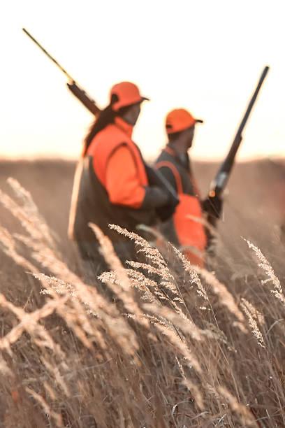 мужчина и женщина в поле охота - плато стоковые фото и изображения