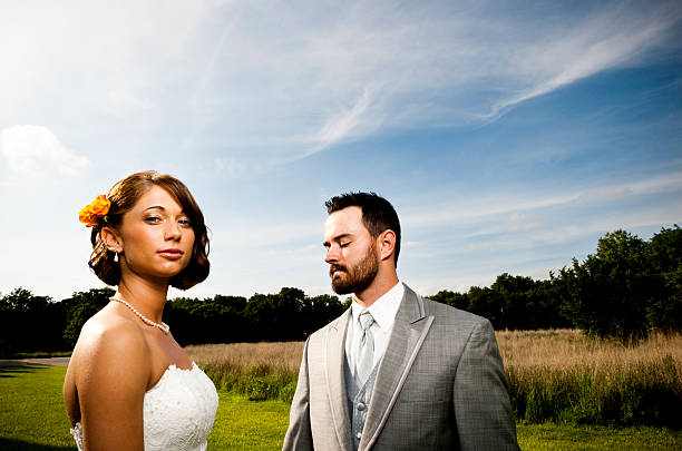 Man and woman in formal clothes stock photo