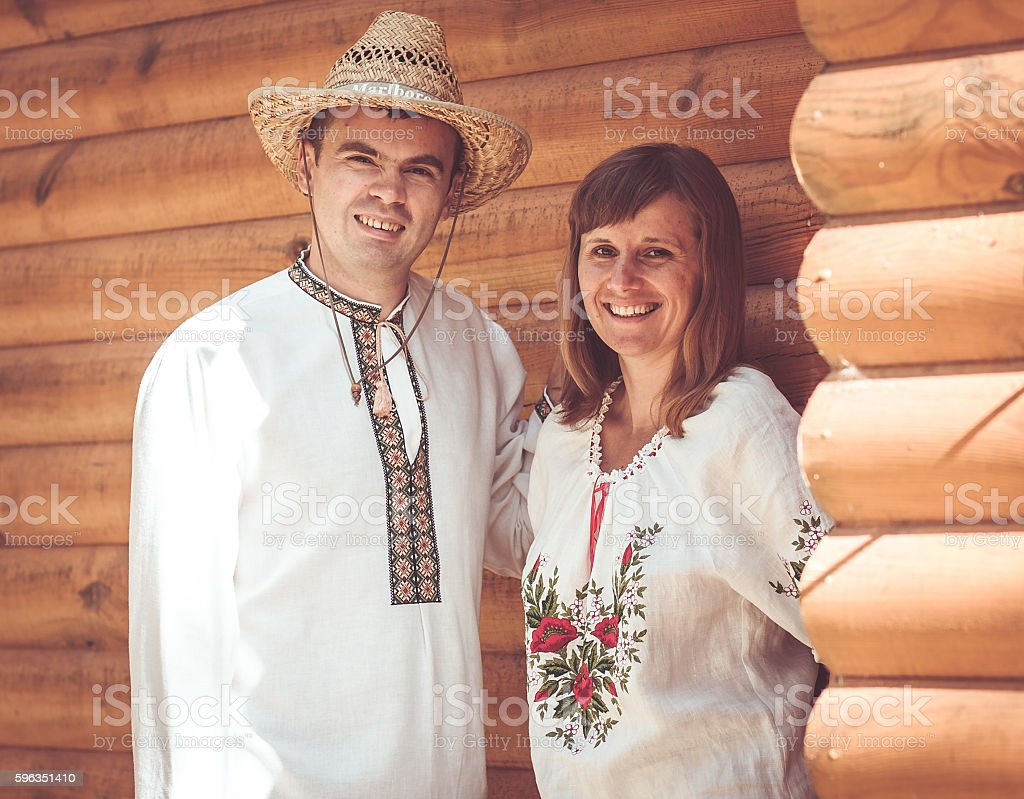 man and woman in national dress royalty-free stock photo