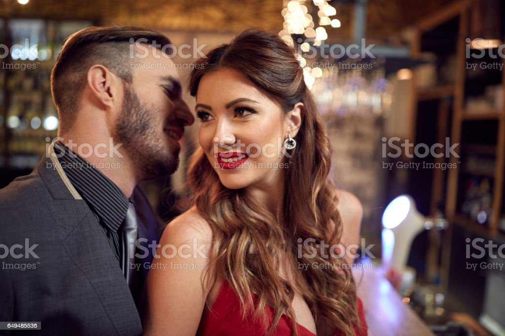 Man and woman in romantic relationship stock photo
