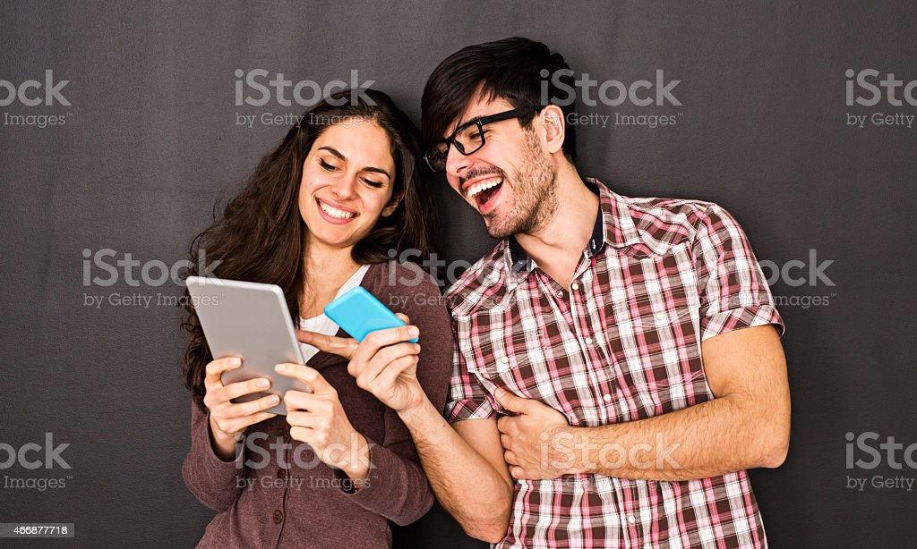 Man and Woman in Social Network Concept stock photo