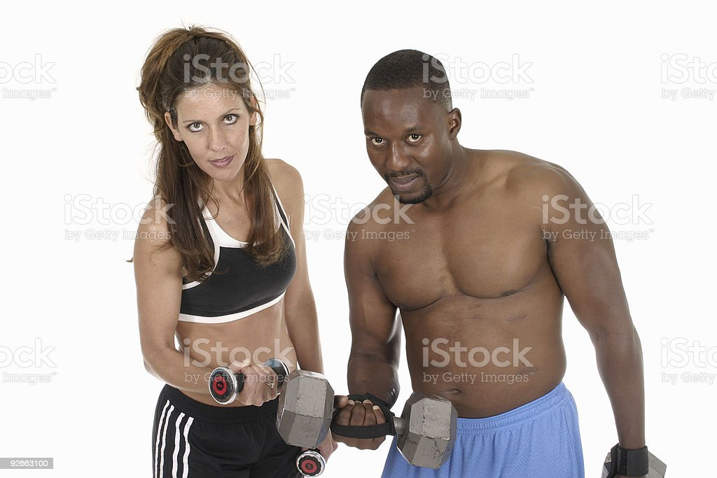 Man And Woman Lifting Weights royalty-free stock photo