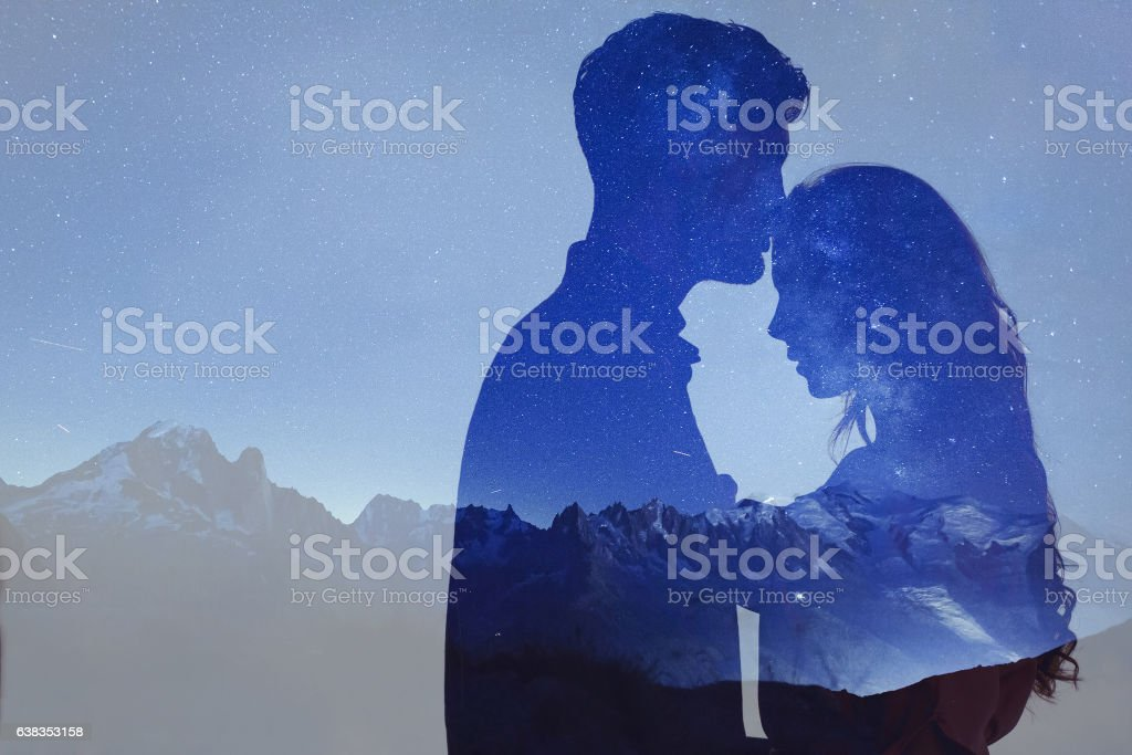 man and woman love, double exposure of couple
