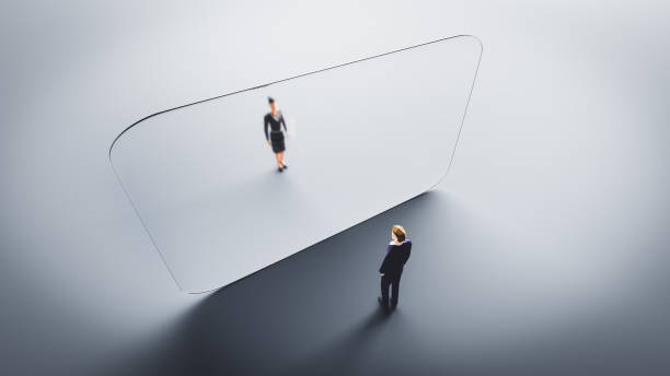 Man and woman meet on both sides of glass wall. Protection against Coronavirus COVID-19, stock photo
